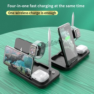 Q1 Wireless Charger Stand 4 In 1 Wireless Fast Charging 15W Station Dock With Type-c USB For Apple Watch Airpods Many Cell Phones