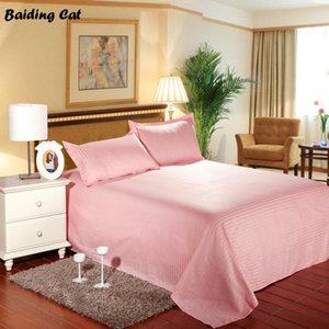 1pc 100% Cotton Satin Stripes Flat Sheet Hotel Home Solid Color Bed Sheet Bed Linen Bedding Bedclothes Twin Full Queen Size