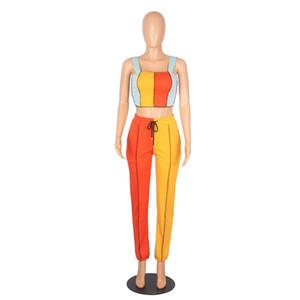 Pants Sets Women 2021 Two Piece Set Crop Top Vest Sweatpants Sport Suits Striped Print Tracksuits Summer