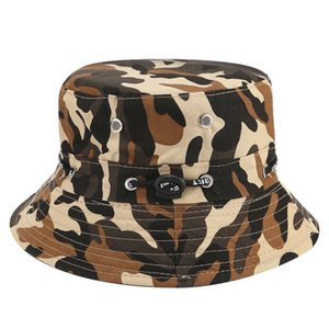 2021 Summer Outdoor Mens and Womens Camouflage Sun Hat Bucket Hat Solid Color Rope Big Brim Fishing Mountaineering Sun Hat