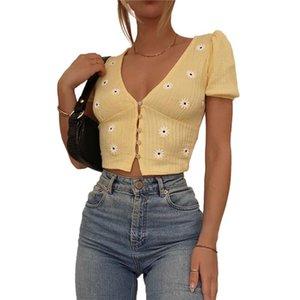 Senhoras Verão Sexy Impresso Crop Top Mulheres Daisy Bordado V-Pescoço T-shirt de Manga Curta T-shirt Único-Breasted Top para Dating Férias