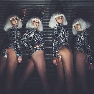 Nouveau Miroir Costume Future Technologie Gogo Dancer Silver Mirror Mirror Vêtements Robe de performance NightClub Robe de danse Jumpsuit
