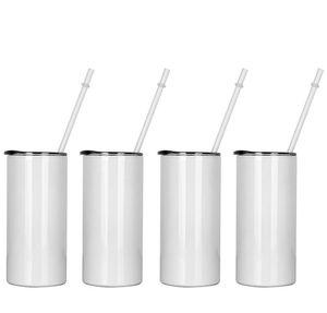 Sublimação Skinny Tumbler 15oz Tall Slim Capered Tumblers Branco Em branco Vácuo isolado Copo de água para transferência de calor SES envio