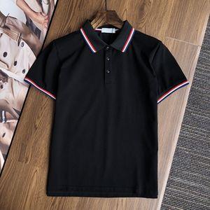 2021 Monclair Luxury Men's Designer Polo T-Shirt الصيف الأزياء تنفس قصيرة الأكمام التلبيب الأعلى