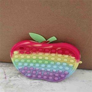 10PCS DHL Apple Butterfly Shape Fidget Toy Popet Bubble Bag Handbags Kids Girls Cartoon Push Pop Board GameTote Crossbody Purses Early Learning Toys Gift G98ORER