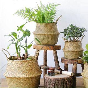 접이식 대나무 저장소 바구니 세탁 짚 패치 워크 고리 버들 등나무 바다 배꼽 정원 꽃 냄비 화분 바구니