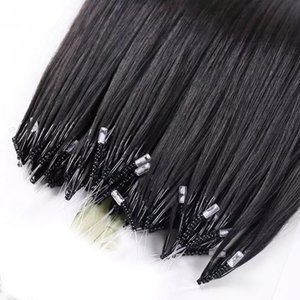 The Most Comfortable Remy Nano Ring Human Hair Extension Black Brown Blonde Color 100s Micro Loop Beads 70g 80g 14