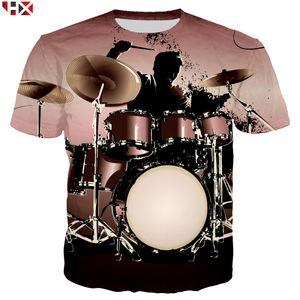 Summer Sale 3D Print 2021 Bass Drum Set Funny T Shirts Unisex High Quality Musical Instrument Men T Shirt Short Sleeve Tops X215 L0223