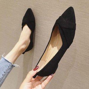 الأحذية المسطحة المدببة النساء 2020 الربيع والصيف جديد من جلد الغزال أحذية العمل المهنية حجم كبير ضحلة الفم العمل الأسود الأرجواني SCH T83Z #