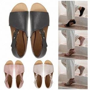 Women Sandals Flip Flops Flats 2019 New Summer Fashion Wedges Shoes Woman Slides Buckle Lady Casual Female Plus Size 35 43 Shoes For M R2Qk#