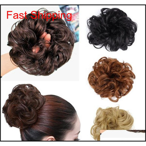 Pony Tail Hair Extension Bun Hairpiece Scrunchie Elastic Wave Curly Synthetic Hairpieces Wrap For Hair Bun Chignon P qylLqm sweet07