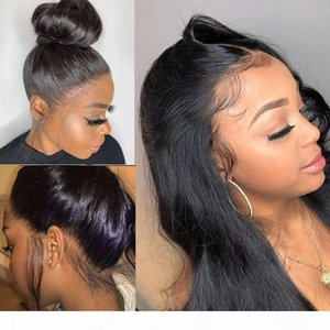 Full Pre Plucke For Black Women Brazilian Straight Front Human Hair Wigs 360 Lace Frontal Wig Hd