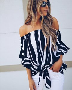 Women Off Shoulder Half Flared Sleeve Bandage Stripe Printed Blouse Shirt Loose