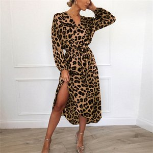 New European and American women's sexy V-neck leopard-print long-sleeved chiffon dress in spring and summer of 2021