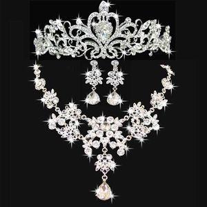 웨딩 쥬얼리는 반짝 이는 까마귀 결혼식 액세서리 신부 들러리 쥬얼리 액세서리 (크라운 + 목걸이 + 귀걸이) 신부 쥬얼리 세트