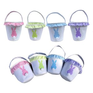 New Easter Rabbit Basket Easter Bunny Bags With Lace Band Rabbit Printed Canvas Tote Bag Eggs Candies Gifts Baskets 4 Colors DBC BH4676