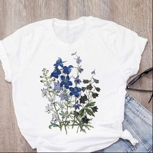 Women Graphic Elegant Cute Clothes Flower Print Elegant Summer Lady Womens Clothing Tops T Shirt Tees Female T Shirt