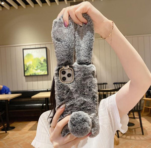Soft plush fur rabbit phone case for apple iphone 11 max 12 case with with cute long ear