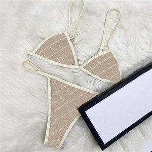 Jacquard Letter Womens Bikinis Set Sexy Backless Donne Costumi da bagno traspirante Tre Point Swim Swimsuits Costume Costume