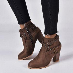 Monerffi High Head Womens Boots e caviglia Fibbia Leopard Rivet Calda Moda appuntita 2019 inverno New Fashion Trend Stivaletti Boots Cowboy B 71wu #