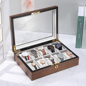 Wooden Watch Box Large Capacity Storage Metal Jewelry Wooden Box Walnut Watch Display Storage Case Watch Holder Gift Boxes SEA KKC6015
