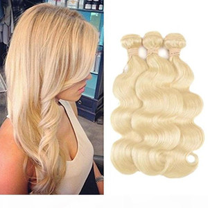8A Brazilian Virgin Body Wave Hair Weaves Double Wefts 100g pc 613 Russian Blonde Color Can be Dyed Human Remy Hair Extensions