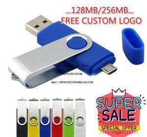 Atacado OTG USB Flash Drive 256MB Cor Rotary Pen Drive Memory Stick Logotipo Multi-Color USB Pendrive Pequena Memória 128MB NMQYJ VD8HY