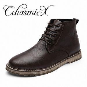 Ccharmix Мужчины Boots Новое Прибытие Мода Обувь Зимние Осенние Сапоги с теплым Мехом Мотоцикл Большой Размер 47 Обувь K50V #