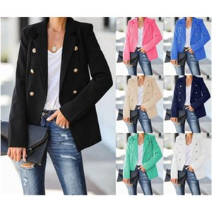Trend Long Sleeve Cardigan Lapel Button Blazers Spring Female Occident V-neck Casual Slim Suits Coats Women Solid Color Suits Jacket Fashion