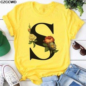 Yellow T Shirt Women 2020 New Summer Short Sleeve S Leeter Print Vogue Lady Top Tshirt Ladies Womens Graphic Female Tee T-Shirt C0220