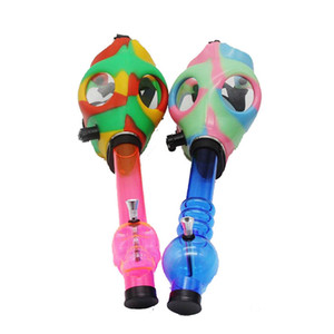 Camo Gas Mask Bong Both Glow in the Dark Water Shisha Acrylic Smoking Pipe Sillicone Mask Hookah Tobacco Tubes Free Shipping Wholesale