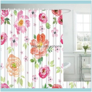 Shower Aessories & Gardenshower Curtains Floral Curtain With Hooks For Bathroom Colorful Flowers Waterproof Polyester Bath Set Home Decor Dr