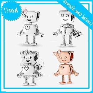 925 Sterling Silver Charme Robot Flor Bella Bot Bead Fit Original Pandora Pulseira para DIY Mulheres Jóias