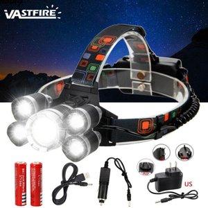 Vastfire Super Bright 5x XM-L T6 Faro recargable LED Faro de la pesca Camping Hunting Torch + 2 * 18650 + Cargador + Cable USB
