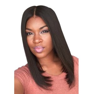 New European and American Style Wig Womens Mid-Length Straight Hair Set Natural Black Brown Mid-Length Straight Hair One Piece Dropshipping