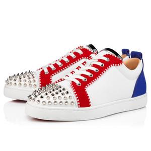 Weiße Skate-Schuhe rotes unteres Junior-Spikes Orlato-flache niedrige Top-Turnschuhe Tennis-Leinwand-Sportläufer-Schuhe, Paris-rote Sohlen-Trainer