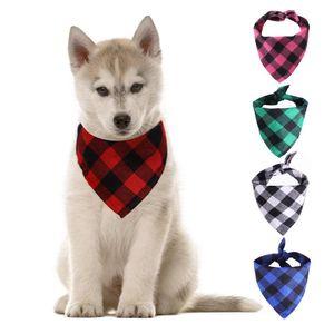 Dog Bandana Christmas Plaid Single Layer Pet Scarf Triangle Bibs Kerchief Pet Accessories Bibs for Small Medium Large Dogs OWB5225