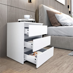 US Local Warehouse 2021 New Simple White home office bedside table three-drawer chest of drawers LS657942384-01