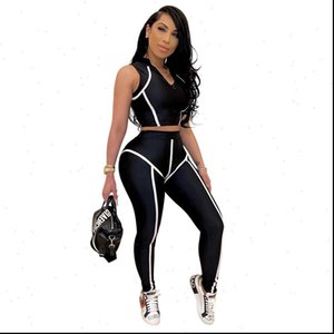 Women 2 Pieces Set Fitness Tracksuit Crop Top and Leggings Two Piece Casual Sports Set Summer Clothes for Women Outfits 2021