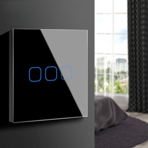 EU UK Standard Touch Screen Switch Interruptor Crystal Glass Panel Wall Switch for Lamp 1 2 3 Gang 1 Way LED Light