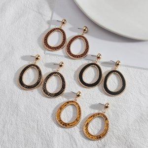 Circle Ring Frame Shape inspired Snakeskin PU Leather Charms Earrings Geometric Women Jewelry