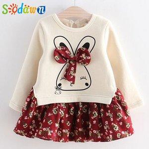 Sodawn Girls Kleid Frühling Herbst Blume Prinzessin Kleid Marke Mädchen Kleidung Kinder Kleidung Nette Tier Stil Mädchen Kleider 210315