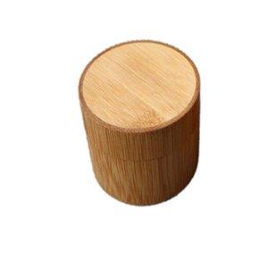 Mini Yuvarlak Bambu Çay Kutusu Taşınabilir El Yapımı Doğal Çay Kavanoz Depolama Tutucu Matcha Konteyner Organizatör Çay Caddies