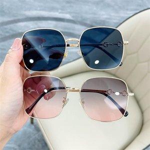 Мода Женщины Мужчины Солнцезащитные очки Площадь Солнцезащитные Очки Сплава Рамка Очки Анти-УФ Очки Перосональность Темпры Очки Ornamental A ++