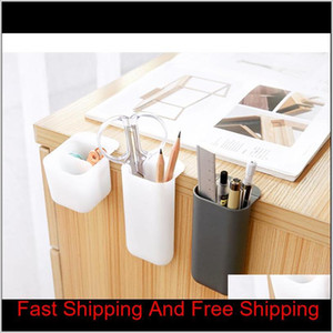 Creative Pasteable Pen Holder Desktop Storage Boxes Desk Pen Pencil Organizer Office Sundries Storage School Stationery Holders Gtiur Ub1Ws