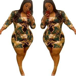 Print Long Sleeve Dress Plus Size Summer Women High Waist Mini Skirt Round Neck Slim Skinny Elastic Dresses Vintage Clothing