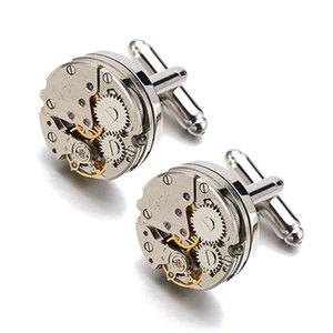 Lepton Watch Movement Design Cufflinks Stainless Steel Steampunk Gear Mechanism CuffLink For Mens Business Gifts Relojes Gemelos