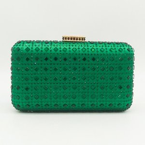 2021 Nuevo Cristal Evening Green Clutch Verde Bag Women Diamond Cocktail Cadena Bolsa de boda