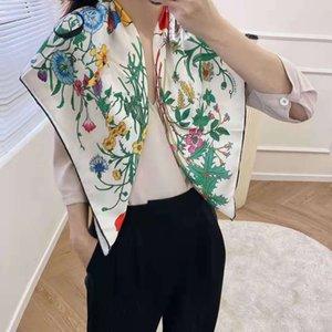 Высокое качество Оптовая продажа - знаменитый стиль дизайн 100% шелковые квадратные шарфы женщины сплошные цвета мягкие моды шаль элегантный женский цветочный шарф