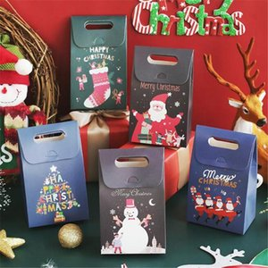 Gift Wrap 4Pcs Christmas Bag Paper Bags For Perfume Candy Cookie Biscuit Nougat Chocolate Paking Boxes Handle Santa Claus